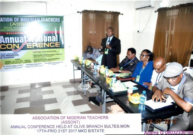 ASSONT CHAIRMAN, PROF. REKO OKOYE, WITH OTHER DIGNITARIES GIVING HIS WELCOME ADDRESS (12TH NATIONAL CONFERENCE OF ASSONT - 2017)