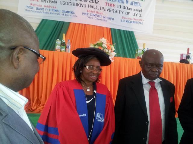 VICE CHANCELLOR, UNIVERSITY OF UYO, PROF COMFORT M EKPO  PUTTING ON ACADEMIC GOWN DURING THE 2ND INTERNATIONAL CONFERENCE OF NAR